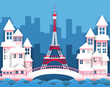 Illustration of the Eiffel Tower with a pink bridge, river and tall buildings.