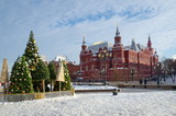 Moscow, Russia - January 9, 2019: Christmas trees on Manezhnaya square in the framework of the festival