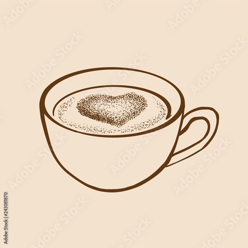 Hand drawn sketch cup of tea or coffe with heart. Vector illustration.