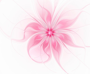 Abstract fractal pink flower on white background