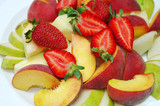 Fruit and berry salad. Strawberries, pears, apples.