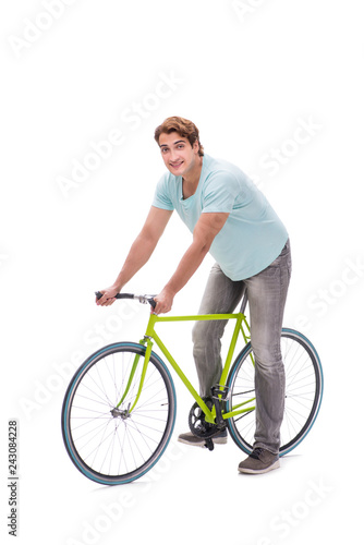 Young man with cycle isolated on white