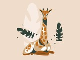 Hand drawn vector abstract cartoon modern graphic African Safari Nature concept illustrations art card with giraffe animal and tropical palm leaves isolated on pastel color background