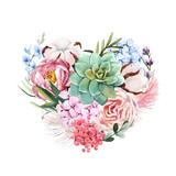 Watercolor floral vector heart composition - 243086015