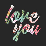 Watercolor vector floral love you word - 243086021
