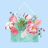 Watercolor floral vector composition - 243086056