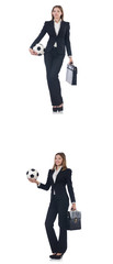 Businesslady with ball on white  © Elnur