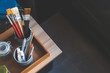 studio photo of a paint brush with soft-focus and over light in the background