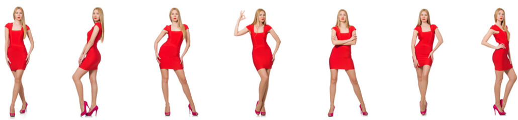 Beautiful woman in red dress isolated on white  © Elnur