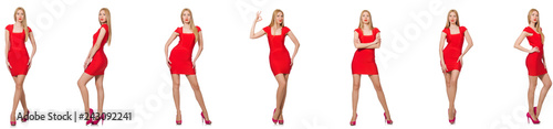 Leinwandbild Motiv Beautiful woman in red dress isolated on white