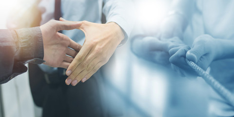 business and cooworking greeting, contract and collaboration