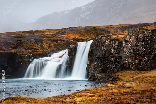 Leinwanddruck Bild Kirkjufellsfoss waterfal in Snaefellsnes peninsula of Iceland