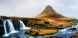 Leinwanddruck Bild - Kirkjufellsfoss waterfal in Snaefellsnes peninsula of Iceland