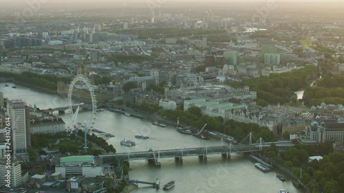 Aerial view at sunset River Thames landmarks London