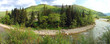 beautiful panorama with a river in the spring mountains