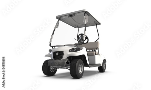 3D render of Golf cart isolated on white background - 243110203