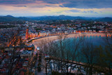 Top view of San Sebastian in  evening