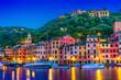 Leinwandbild Motiv Picturesque fishing village Portofino, Liguria, Italy