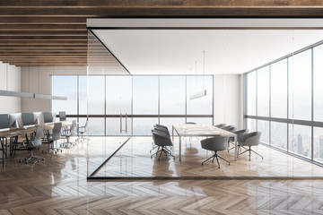 Contemporary office interior with NY view