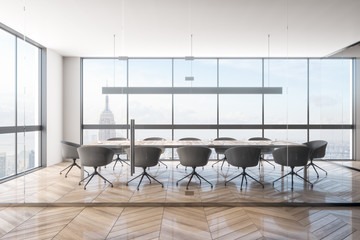 Contemporary meeting room with NY view