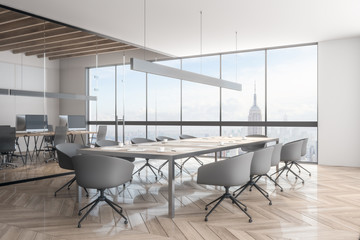 Light office interior with NY view