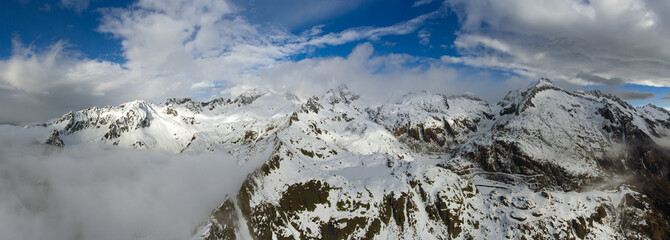Aerial landscape with snow mountains © Kokhanchikov