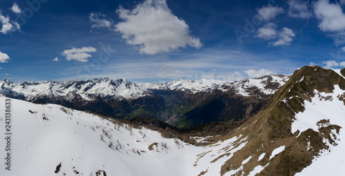 Panorama of snow Alps mountains at spring