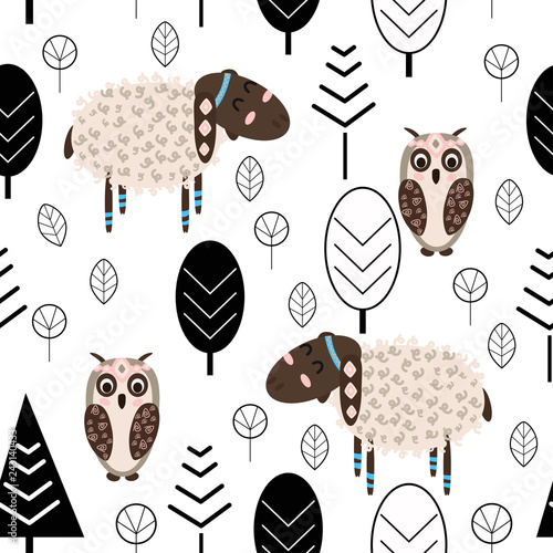 mata magnetyczna seamless pattern with lamb and owl in forest Scandinavian style - vector illustration, eps