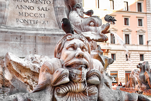 Fragment of fountain on the Piazza Navona in Rome, Italy
