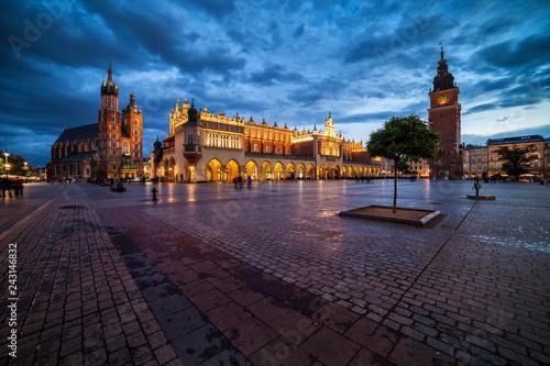 Fridge magnet Krakow Old Town Main Square At Dusk