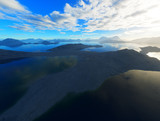 Dramatic ocean gulf among mountains 3d rendering background - 243149042