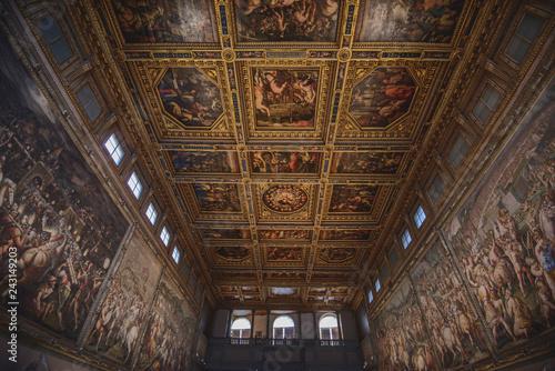 Italy, Florence - July 30, 2018: Salone dei Cinquecento in Palazzo Vecchio.