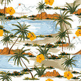 Summer Aloha seamless island pattern vector. Landscape with palm trees,beach and ocean vector hand drawn style - 243150615