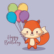 cute fox happy birthday card with balloons helium