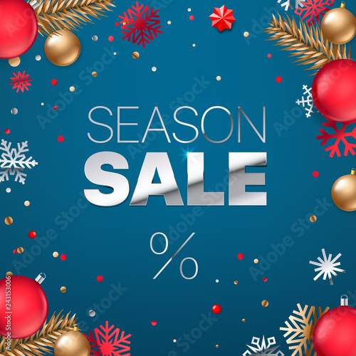 Season sale inscription. Silver text on blue background. Shopping banner.