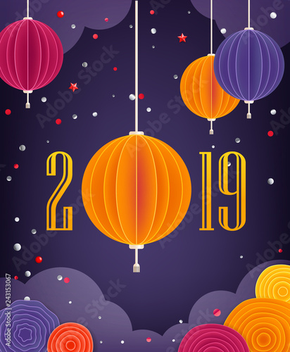 Happy Chinese New Year 2019. Vector illustration