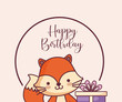 cute fox happy birthday card and gift