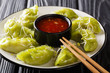 Leinwandbild Motiv gyoza dumplings with matcha served with sauce and microgreen close-up. horizontal
