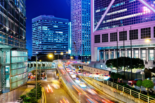 Wall mural Night Traffic in Hong Kong