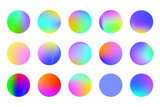 Set of round Vector Gradient. Multicolor Sphere. Modern abstract background texture. Template for design. Isolated  objects. - 243159269