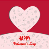 red paper heart on a background with elements of valentine's day on a pink background - 243159449