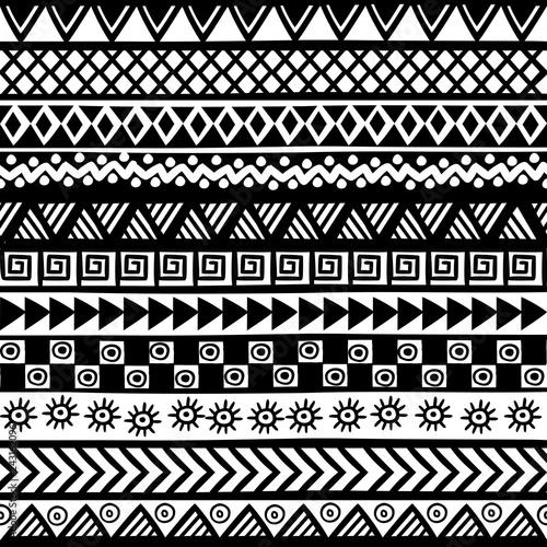 Black and white geometrical tribal motifs