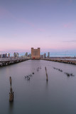 Hudson river view from broken pier at sunrise with long exposure - 243164603