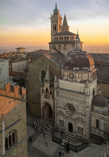 Bergamo, Italy. The old town. Aerial view of the Basilica of Santa Maria Maggiore and the chapel Colleoni during the sunset