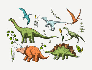 Prehistoric vector dino icon set.