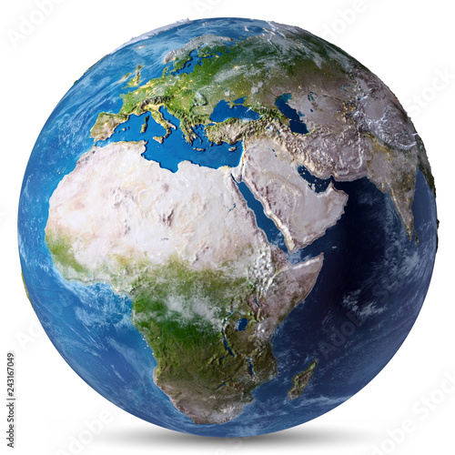 Africa and Europe white isolated