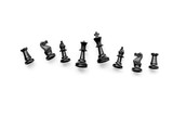 Competition or victory or strategy concept. Chess figures on white background top view pattern copy space