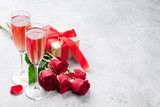 Valentine's day greeting card with champagne - 243171463