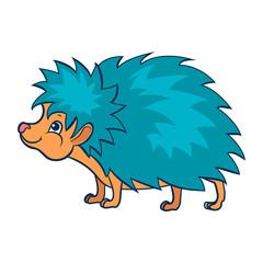 Hedgehog. Figure stylized cartoon style. Isolated background. Vector © elfhame