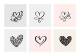 Set of six vintage Vector Valentines Day Hand Drawn Calligraphic Hearts. Calligraphy lettering illustration. Holiday Design valentine. Icon love decor for web, wedding and print. Isolated - 243175026